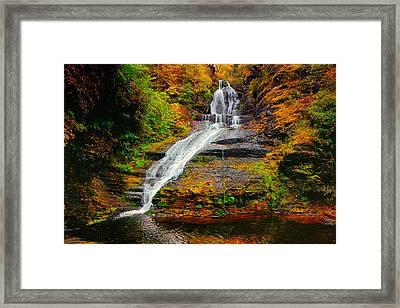 Dingmans Falls In Autumn 1 Framed Print by Raymond Salani III