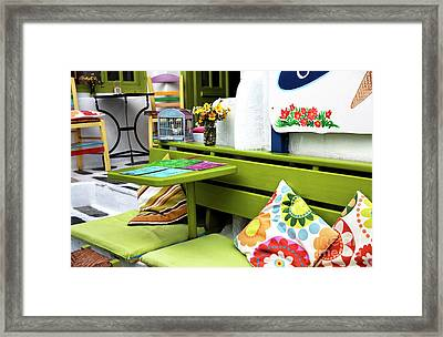 Dining Colors In Mykonos Town Framed Print