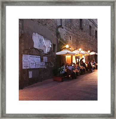 Dining In Tuscany Framed Print by Carol Sweetwood