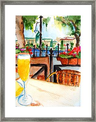 Dining On The Danube Framed Print by Elaine Duras