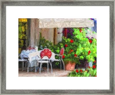 Dinner At The Cafe Framed Print