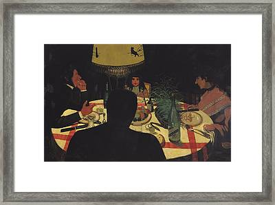 Dinner By Lamplight Framed Print by Felix Edouard Vallotton