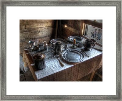 Dinner Is Served Framed Print by Jane Linders