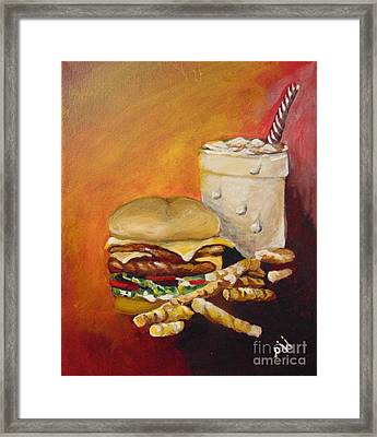 Framed Print featuring the painting Dinner Time by Saundra Johnson