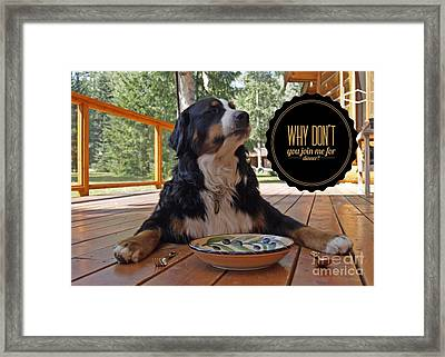 Framed Print featuring the digital art Dinner With My Dog by Kathy Tarochione