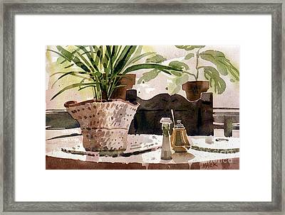 Dinning Room Table Framed Print by Donald Maier