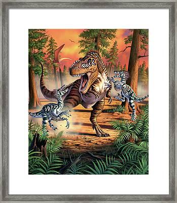 Dino Battle Framed Print