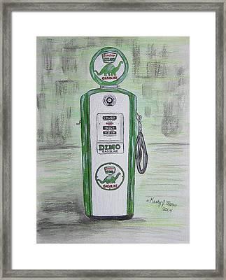 Dino Sinclair Gas Pump Framed Print by Kathy Marrs Chandler