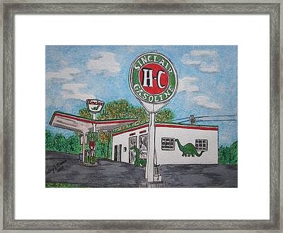 Dino Sinclair Gas Station Framed Print by Kathy Marrs Chandler