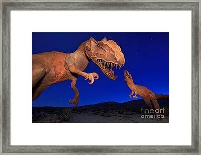 Dinosaur Battle In Jurassic Park Framed Print by Sam Antonio Photography