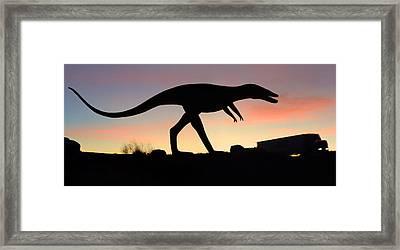 Dinosaur Loose On Route 66 Framed Print by Mike McGlothlen