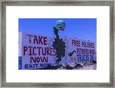Dinosaur Sign Take Pictures Now Framed Print by Garry Gay