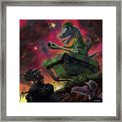 Framed Print featuring the painting Dinosaur War 01 by Martin Davey