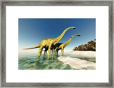 Dinosaur World Framed Print by Corey Ford