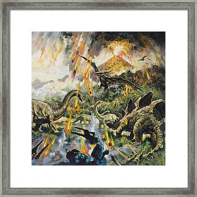 Dinosaurs And Volcanoes Framed Print by English School