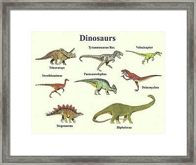Dinosaurs Montage - Landscape Framed Print by Michael Vigliotti