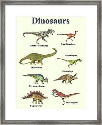 Dinosaurs Montage - Portrait Framed Print by Michael Vigliotti