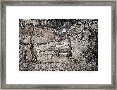 Framed Print featuring the drawing Dinosaurs by Josean Rivera