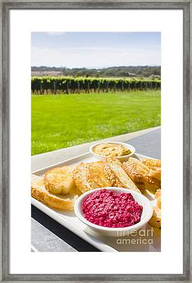 Dip Platter At Tasmania Winery Restaurant  Framed Print by Jorgo Photography - Wall Art Gallery