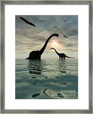 Diplodocus Dinosaurs Bathe In A Large Framed Print by Mark Stevenson