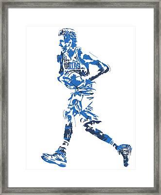 Dirk Nowitzki Dallas Mavericks  Pixel Art 6 Framed Print