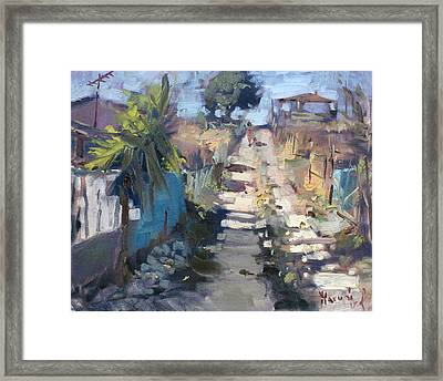 Dirt Road At Kostas Garden Framed Print by Ylli Haruni