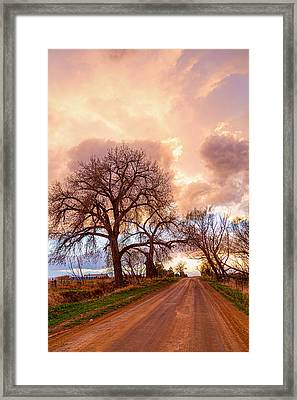 Dirt Road Cloud Cruising  Framed Print
