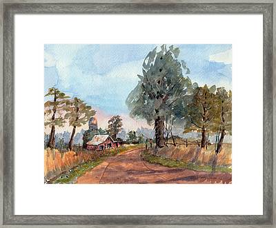 Dirt Road Farm - Watercolor Framed Print