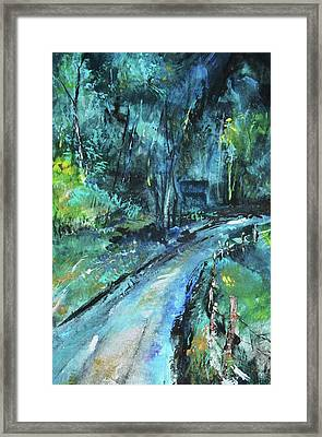 Dirt Road In Blue Framed Print