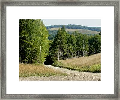 Dirt Road Through The Mountains Framed Print by Jeanette Oberholtzer