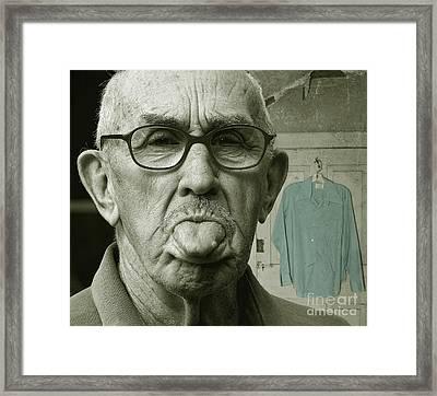 Framed Print featuring the photograph Dirty Blue Shirt by Jan Piller