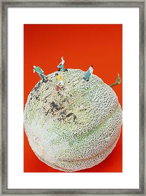 Framed Print featuring the painting Dirty Cleaning On Sweet Melon Little People On Food by Paul Ge