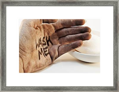 Dirty Hand With Soap Framed Print