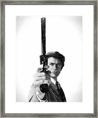 Dirty Harry Charcoal Framed Print