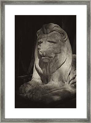 Disapproving Stone Lion Framed Print