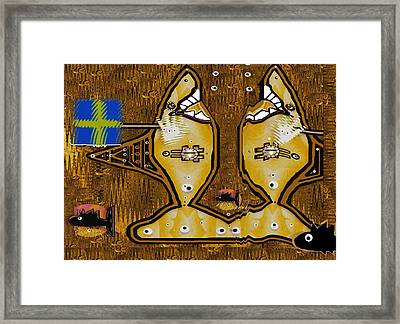 Disco Sharks Framed Print by Pepita Selles