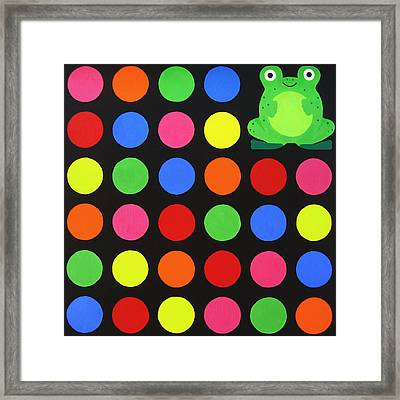 Discofrog Framed Print by Oliver Johnston