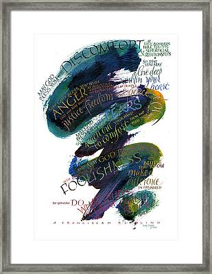 Discomfort Blue Framed Print by Judy Dodds