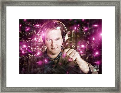 Disconnected Male Dj Holding Unplugged Audio Jack Framed Print by Jorgo Photography - Wall Art Gallery