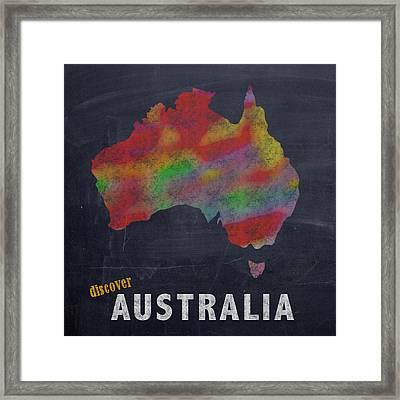 Discover Australia Map Hand Drawn Country Illustration On Chalkboard Vintage Travel Promotional Post Framed Print
