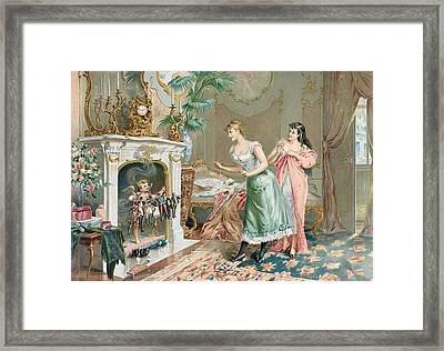 Discovering Their Christmas Gifts Framed Print by French School