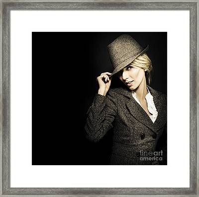 Discreet Woman In Vintage Fashion Framed Print