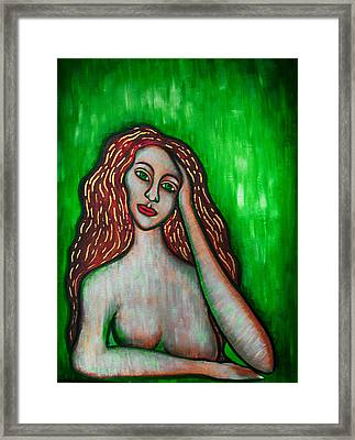 Discrete Contemplation-green Framed Print by Brenda Higginson