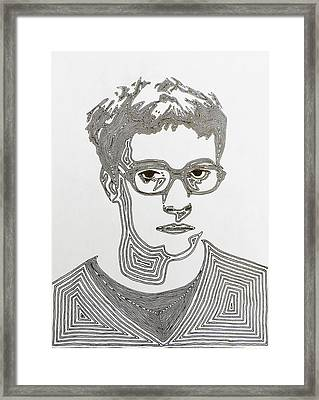 Disgruntled With Melting Hair Framed Print by Amit Jacobs