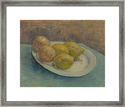 Dish With Citrus Fruit Framed Print