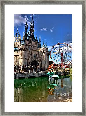 Dismaland  Castle And Aerial Framed Print by Lucy Antony