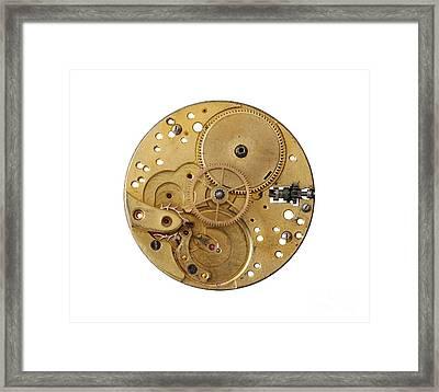 Framed Print featuring the photograph Dismantled Clockwork Mechanism by Michal Boubin
