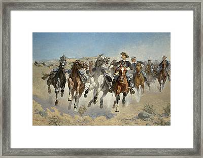 Dismounted The Fourth Troopers Moving The Led Horses Framed Print