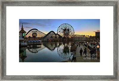 Disney California Adventure Panorama Framed Print by Eddie Yerkish