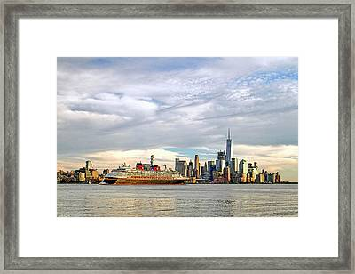 Disney Cruise Ship Passing Freedom Tower In New York City Framed Print by Geraldine Scull